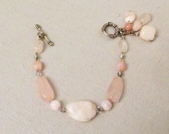 Garage...Pink Peruvian Opal Jewelry, Rose Quartz Jewelry, Pink Opal Handmade Bracelet, Rose Quartz Dangle Bracelet, Pink Healing Gemstones
