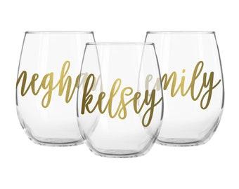 Personalized stemless wine glasses, wine glass with name, personalized wine glass, personalized wine glasses, friend wine glasses