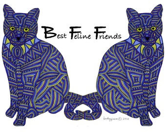 Cat Art Cards- Best Feline Friends 5x7 Card by beckyzimm