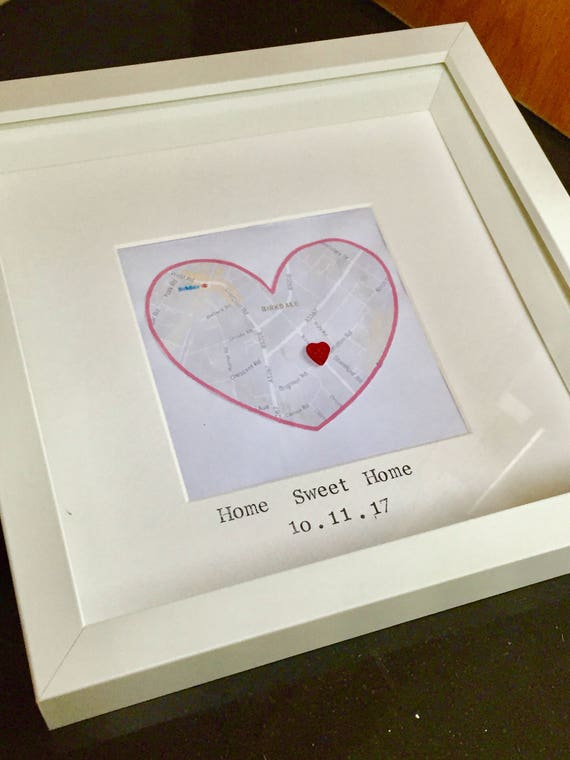 Personalised heart map frame wedding frame personalised