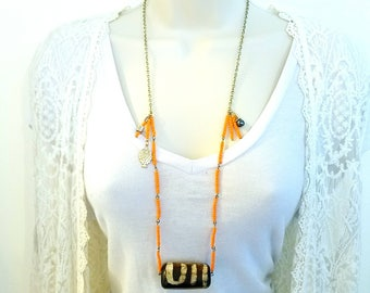 Bold statement necklace, Boho Jewelry, ethnic jewelry, Orange necklace, gift for her, bohemian jewelry, unique gift, free shipping, colorful