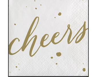 Paper Napkins,  Gold Cheers Beverage Napkins,   24 napkins  5 inches folded