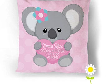 Koala Birth Stats Pillow Cover - Personalized Birth Announcement Throw Pillow Baby Stats - Custom Baby Cushion - Baby Gift - Nursery Decor