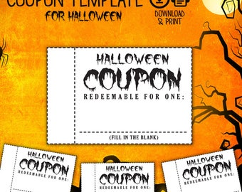 Coupon Book, Coupon for Halloween, Halloween Coupon, Date DIY Coupon, Love Coupons, Love Coupons for Him/Her, Halloween empty coupon