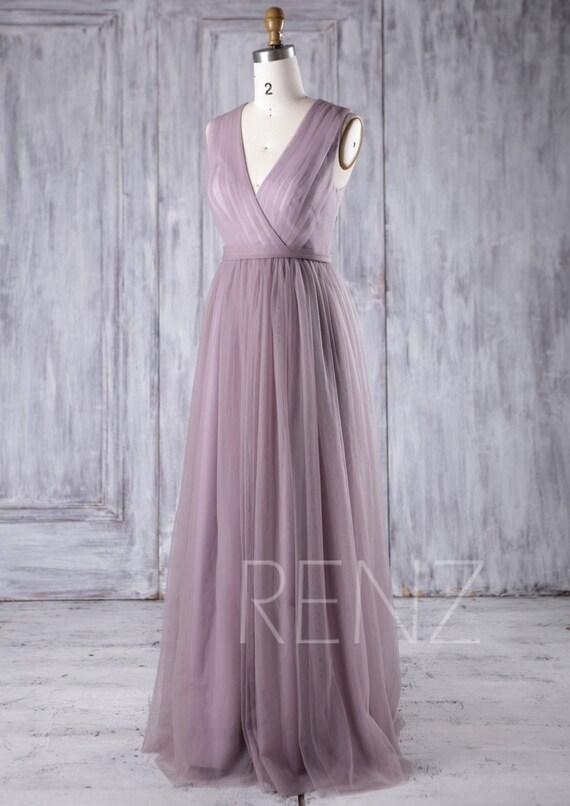 Bridesmaid Dress Dark Mauve Tulle DressWedding DressV Neck