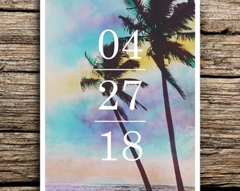 Tropical Breeze Save the Date Postcards // Beach Destination Wedding Save the Dates Bahamas Palm Trees Postcard Mexico Florida Caribbean