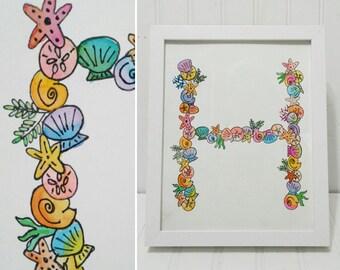 Water Color Seashell Framed Monogram