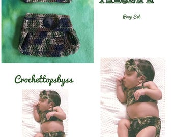 Infant Girls' Army Prop Set; Army Headband, Army Crochet Top & Diaper Cover