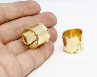24k Gold Plated Adjustable Ring Setting - 18mm -Adjustable Ring - Hammered - Handmade , LA , BRT287