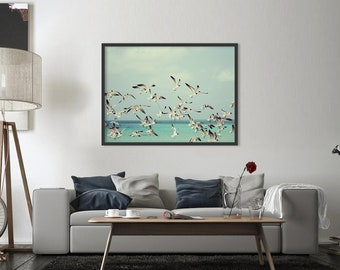 Seagulls print, bird print, bird art print, ocean print, ocean decor, nature wall art, printable wall art, DIGITAL FILES