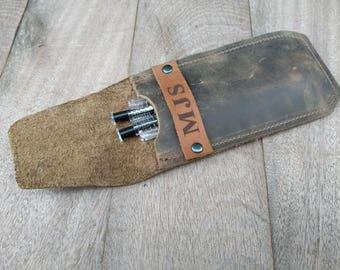 Rustic Pen Case, Pencil Holder, Leather Pen Case, Distressed Leather, minimalist, Pencil Case, Free Personalized