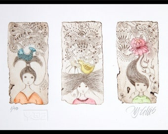 Hope, Faith and Peace, etching on paper, handprinted and signed, limited edition, 3 girls