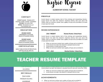 teacher resume etsy