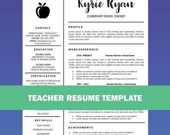Teacher Resume Template Word / Cover Letter Template, Teaching Resume,  Educator Resume, Education