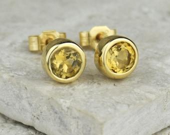 November Birthstone Studs | Citrine Studs | Gold Citrine Earrings | Birthstone Earrings | Gold Studs | November Birthday | Solitaire Studs