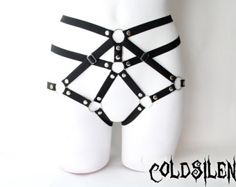 Body harness cage panties high waist studded adjustable fetish burlesque goth fashion elastic gift for her