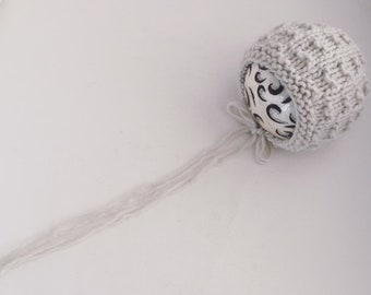 Newborn size knit Titch round back bonnet in alpaca blend,photo prop,gift,coming home,valentines day,ready to ship in birch