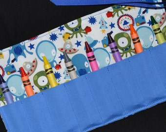 Aliens and UFOs Crayon Roll Party Favor - Boys Gift - Crayon Keeper - Crayon Holder- Toy - Michael Miller Galaxy Visa