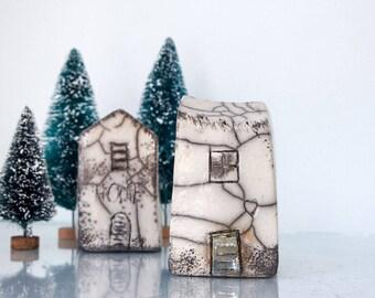 Raku fired Ceramic houses Handmade Unique Ceramics  Architectural Home decor, raku pottery, black and white