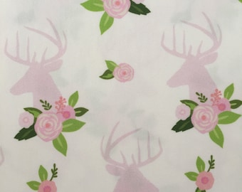 custom baby blanket ~ pink floral deer head ~ chic couture ~ baby accessories ~ custom made baby blanket from lillybelle designs