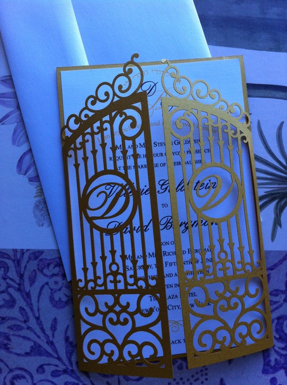 Laser Cut Wedding Invitation Die Cut Monogram Iron Gate Bi