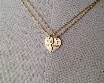 Best Friend Heart Necklace in Gold, Dainty Necklace