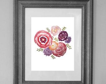 Floral Painting Printable / Nursery Wall Art / Girls Room Decor / Wall Art / Printable Sign / Home Decor / INSTANT DOWNLOAD