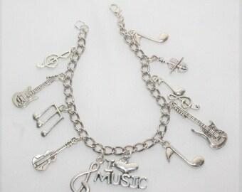 Music Charm Bracelet, Guitar Bracelet, I Love Music Charm Bracelet, Violin Charm Bracelet, Music Student Gift, String Instrument Bracelet