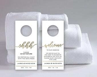 Wedding Door Hanger Template | Do Not Disturb Printable | Wedding Printable  Gold, Welcome |