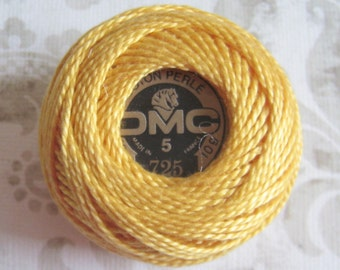 DMC Pearl Cotton Balls Size 5 - 725 Topaz Yellow