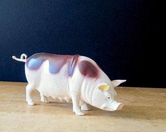 Vintage Plastic Toy Pig, Vintage Pig Toy, Vintage Hog, Toy Hog, Mother Pig, Soft Plastic Toy, Swine Bacon, Barnyard Farm Animal