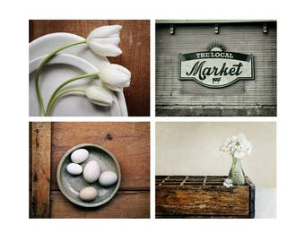 Kitchen Photography Set of 4, Farmhouse Kitchen Art, Rustic Photo Set, Country Wall Decor, Fine Art  Set