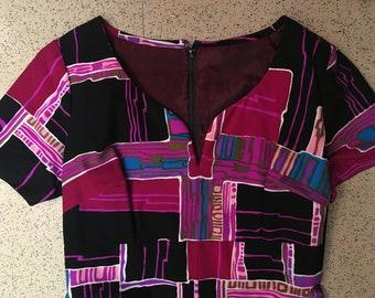 Vintage Long Funky Geometric Dress, 70s, Sweetheart Neckline