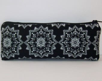 """Pipe Pouch, Pipe Case, Pipe Bag, Glass Pipe Pouch, Black Mandala Bag, Stoner Gift, Padded Pouch, Zipper Pouch, Hippie Pouch - 7.5"""" LARGE"""