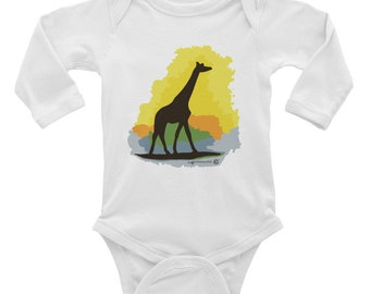 Cute Giraffe Baby Onesie, Infant Long Sleeve Bodysuit, adorable Giraffe clothes for baby. Style your little one in fashion, comfy & cute