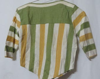 Vintage 50s Cotton Knit Sage Green Gold Stripes Shirt Top Blouse Rockabilly New Old Stock Retro Girls VLV Mid Century