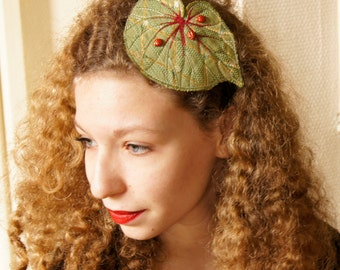 Fiber Art Begonia Leaf Hairband Headband Green Botanical Woodland Accessory Natural History Nature Lover Gift for Her Free Shipping