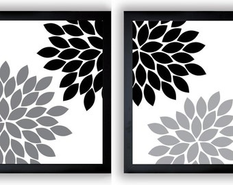 Flower Print Black White Grey Gray Chrysanthemum Flowers Art Print Set Of 2 Wall  Decor Modern Minimalist Bathroom Bedroom
