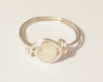 Moonstone Ring, Wire Wrapped Moonstone Ring, Wire Wrapped Ring, Moonstone, Wire Wrap Ring, Rainbow Moonstone, Gemstone Ring, Stacking Ring