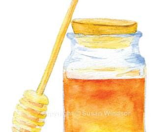 Honey Jar Watercolor Greeting Card