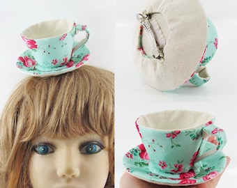 MADE-TO-ORDER ( 1 - 2 Weeks) Textile Teacup Fascinator  (Hair Clip for Children & Adults) -Rose on Aqua Green