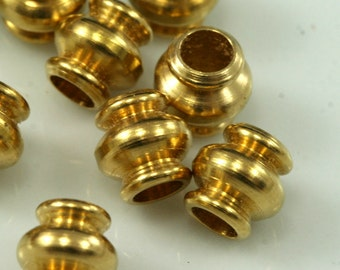 Raw brass bead, 7x7 mm (hole 3.7 mm) raw brass spacer bead bab3 1523