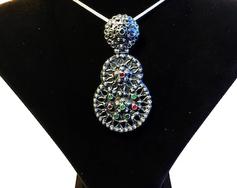 Sterling Silver Necklace with Synthetic Crystals
