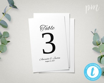 Wedding Table Numbers Template, 4x6 Printable Table Number Cards, Easy to Edit in our Web App, Instant Download
