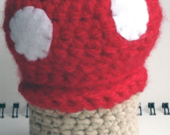 SALE - Red and White Mushroom Amigurumi Pincushion