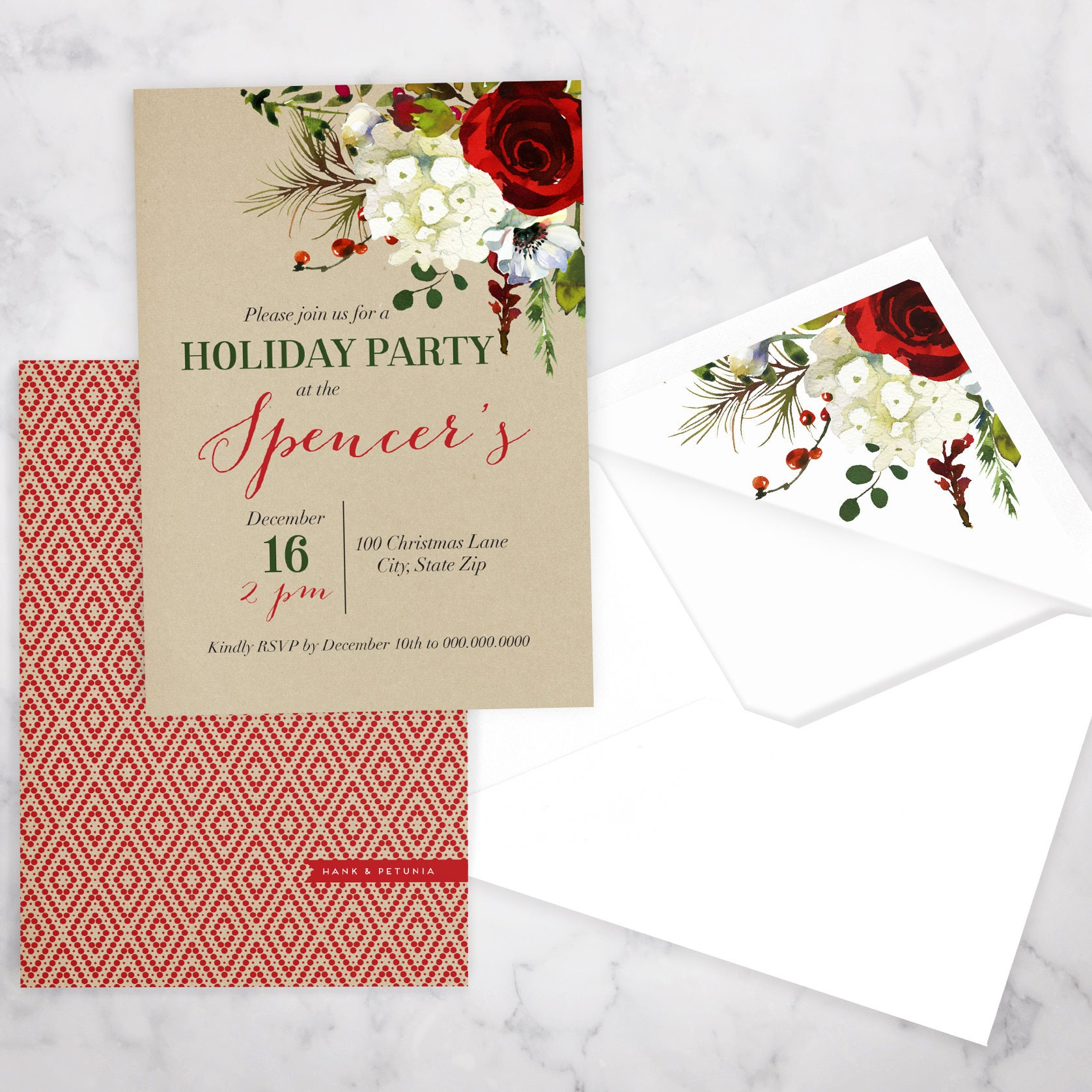 Elegant Winter Watercolor Holiday Party Invitation, Christmas Party ...