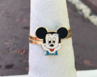 Authentic Disney Solid 14k Yellow Gold and Enamel Mickey Mouse Ring!
