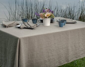 Linen Washed Tablecloth, Natural Color Linen Tablecloth, Linen table top, Linen table cover