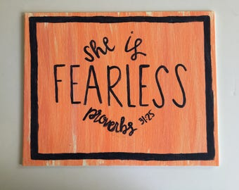 Scripture Wall Art • She is Fearless (proverbs 31:25) | canvas wall art, bible verse canvas, bible verse decor, confirmation gift, bible art