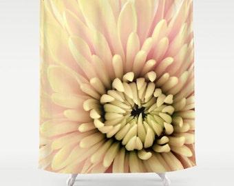 Floral Shower Curtain-Flower Bath Curtain-Shower Curtain & Bath Mat Combo-Yellow-Pink-Black-Bath Decor-Fabric Shower Curtain-Cottage Decor